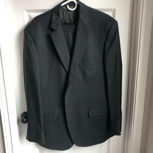 Men's Italian Black/Grey Pinstripe Suit